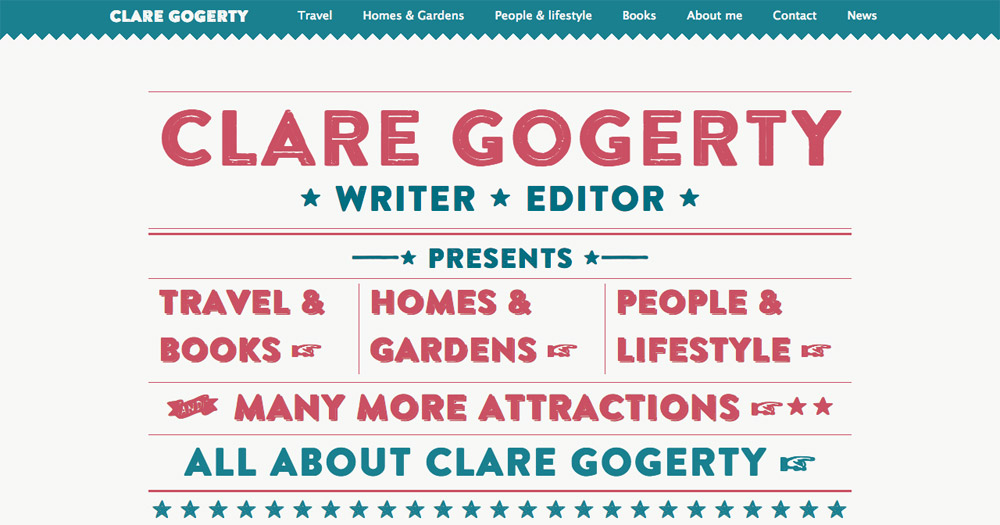 Clare Gogerty website design by Sarah Callender Design