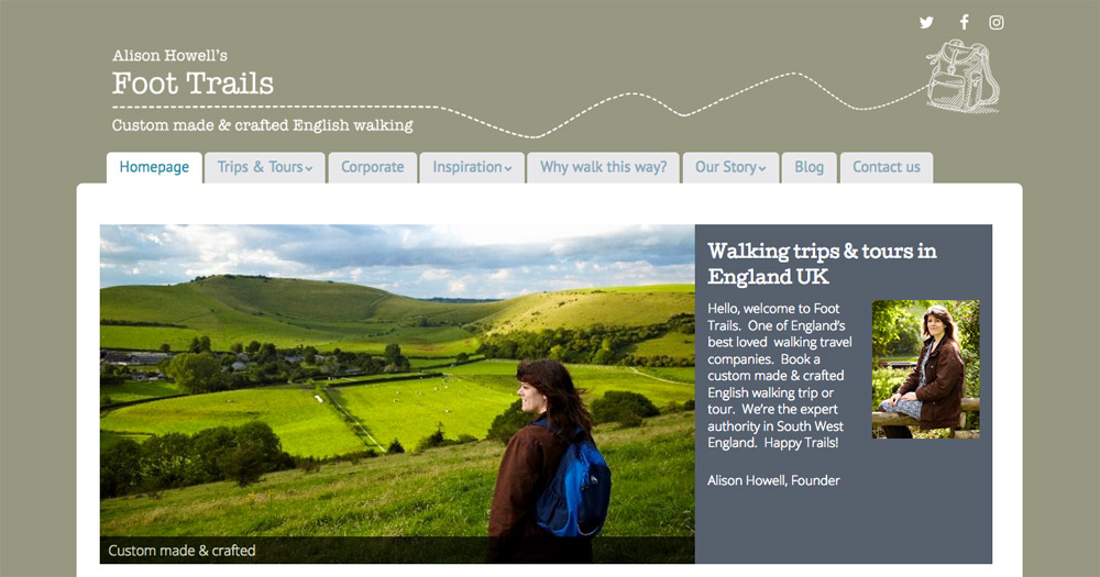 Foot Trails website design by Sarah Callender Design