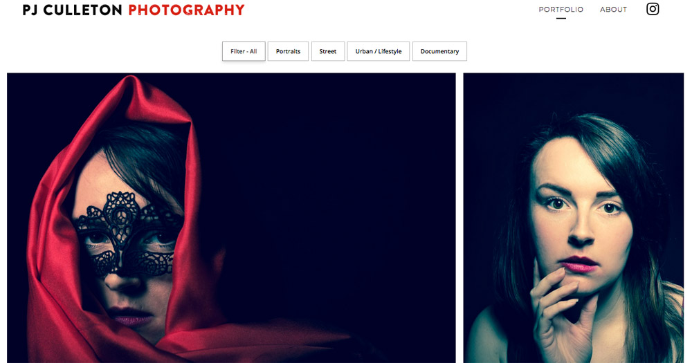 PJ Culleton Photography website design by Sarah Callender Design