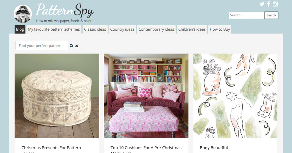 Pattern Spy website design by Sarah Callender Design