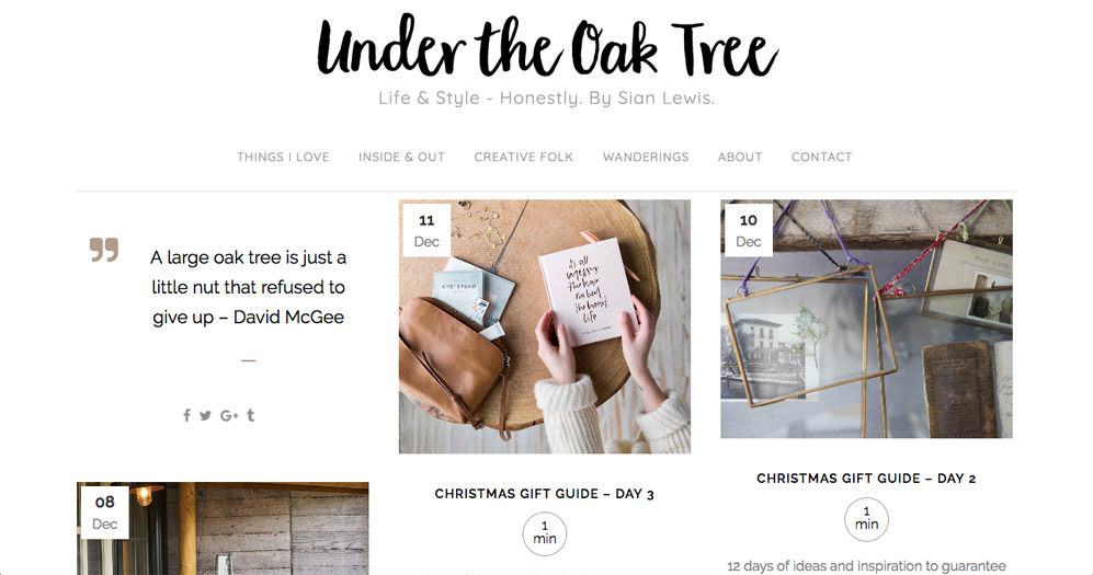 Under The Oak Tree lifestyle blog website by Sarah Callender Design