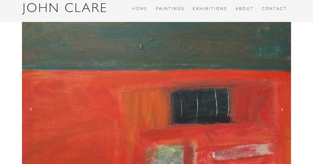 John Clare artist website design by Sarah Callender Design