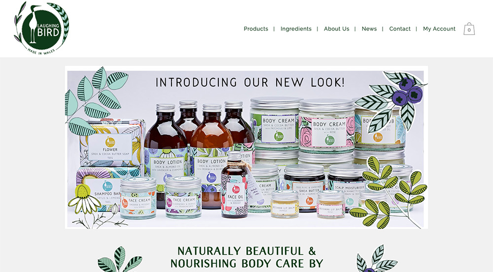 Laughing Bird Website and Product labels by Sarah Callender