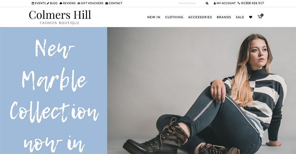 Colmers Hill Fashion Boutique website design by Sarah Callender