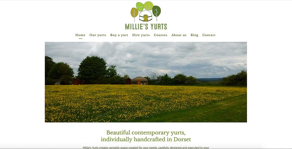 Millie's Yurts website by Sarah Callender Design